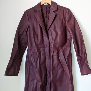 Vintage Ox Blood Trench Coat